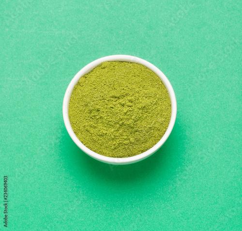 Moringa powder - medicinal plant. Top view Obraz na płótnie