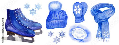 Fotografía Set of winter skate man accessories
