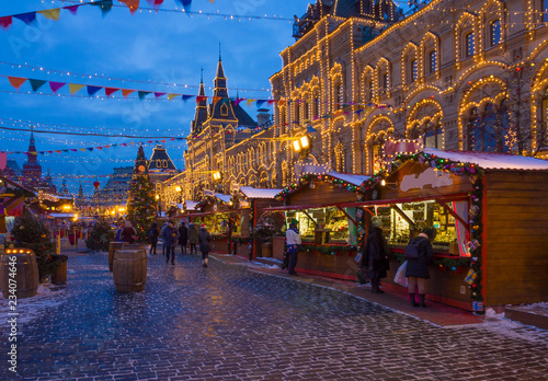 Kremlin and Red Square with the New Year and Christmas decorations in Moscow. Russia