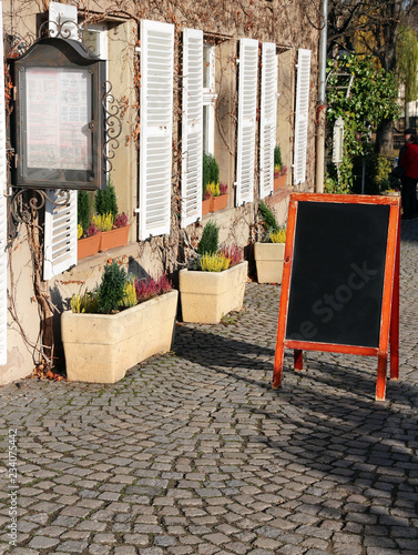 Canvas in front of traditional restaurant in France