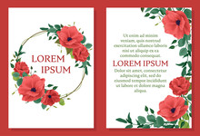 Template Wedding Invitation, Greeting Card. Floral Design, Frame, Place For Text. Imitation Of Watercolor. Red Anemone Flower, Bud, Foliage, Twigs, Eucalyptus. White Background.