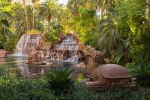 LAS VEGAS, NV, USA - September 15, 2018: Downtown, Las Vegas Strip, A View Of China Garden Of The Mirage Hotel-casino Entrance Near Las Vegas Boulevard