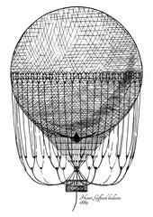 Panel Szklany Podświetlane Do pokoju chłopca Henri Giffard balloon