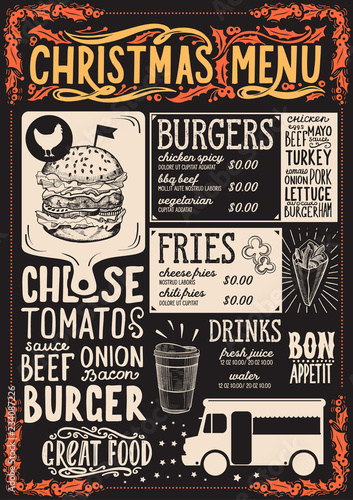 Christmas menu template for food truck. © marchiez