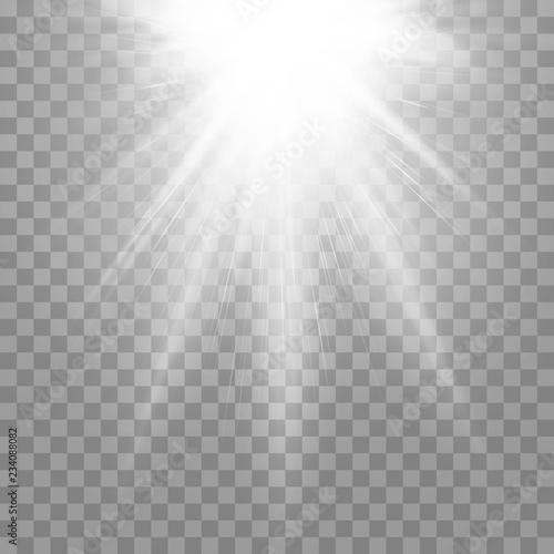 Fototapeta Vector spotlight. Light effect. Vector illustration on a transparent isolated background. obraz na płótnie