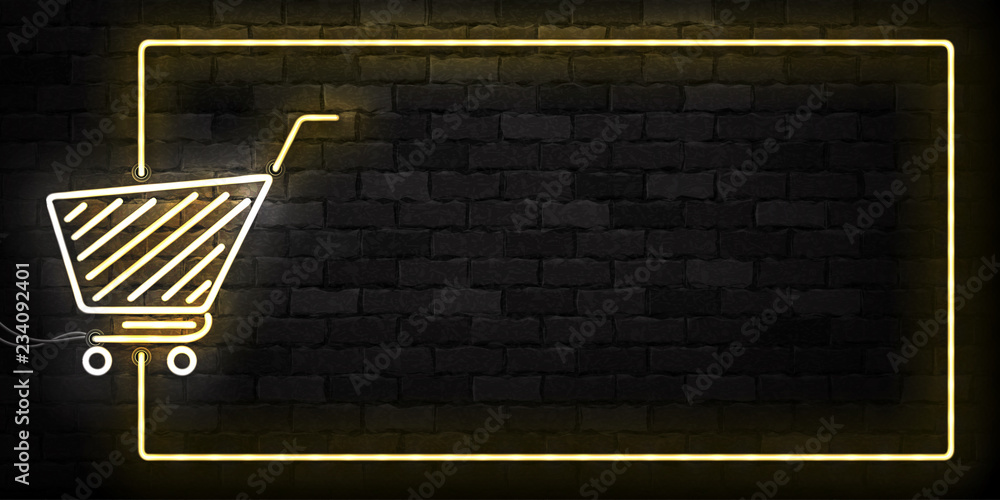 Fototapeta Vector realistic isolated neon sign of Supermarket Shopping Cart frame logo for decoration and covering on the wall background. Concept of Black friday, sale and online shopping.