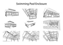 Detailed Achitectural 3d Sketch Of Swimming Pool Enclosure From Different Points Of View. Vector, Technical Industrial
