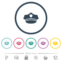 Police Hat Flat Color Icons In...