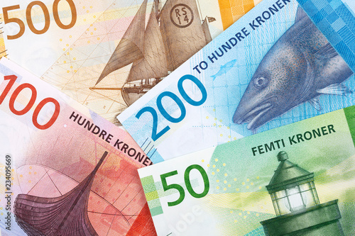Valokuva  Norwegian money, a business background