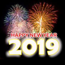 Happy New Year 2019 With Colorful Fireworks Background.