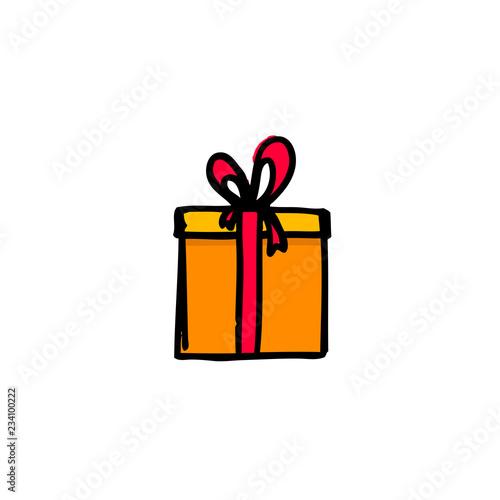 Christmas Gift Box Drawing.Vector Illustration Of Hand Drawing Christmas Gift Box Buy