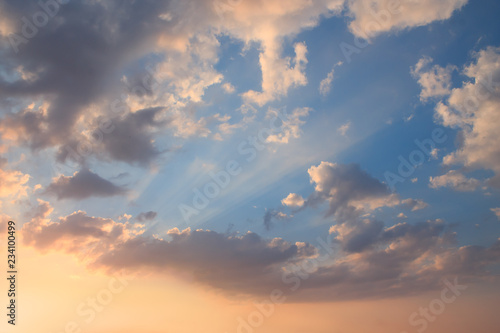 Fototapety, obrazy: Beautiful sunset clouds with the rays of the sun.