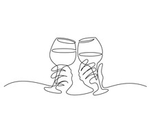 Two Hands Cheering With Glasses Of Wine