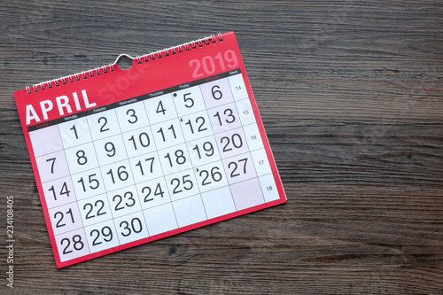 Photo Calendar page showing the month of April 2019