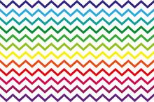 Background Of Rainbow Colored Zig Zag Stripes On White Background