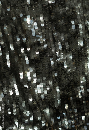 sequin fabric texture background. Black color fabric, festive background - 234110237