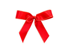 Xmas Red Ribbon Bow With Gold ...