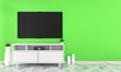 Leinwanddruck Bild - Tv on cabinet design in room interior granite tile floor on green wall ,minimal designs zen style, 3d rendering