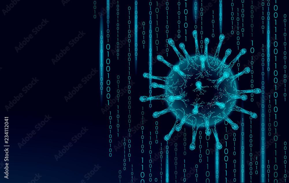 Fototapeta Virus soft 3D internet security. Personal data safety computer network software antivirus. Program code hacker alert cyber crime vector illustration