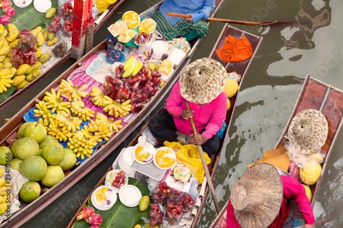 Photo sur Toile Lieu connus d Asie floating market thailand bangkok