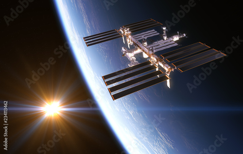 Fotografía  International Space Station On Background Of Rising Sun