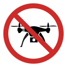 No Drone Zone Warning Road Sign Unmanned Air Vehicle UAV Airplane Reconnaissance Spy Prop Helicopter Silhouette Abstract Icon Outdoor Family Activity Fun Lifestyle Restricted Area Raster Background