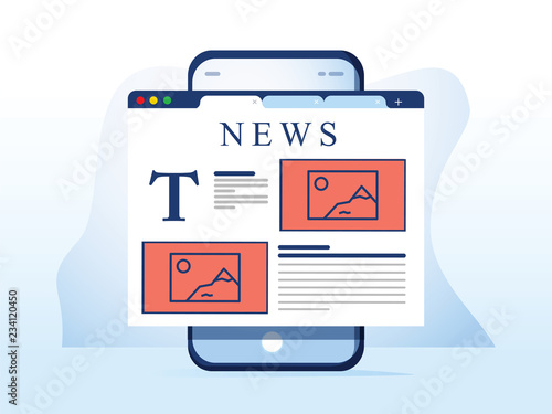 Photo Reading news on smartphone