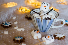 Hot Chocolate Drink With Funny Marshmallow Snowman. Selective Focus