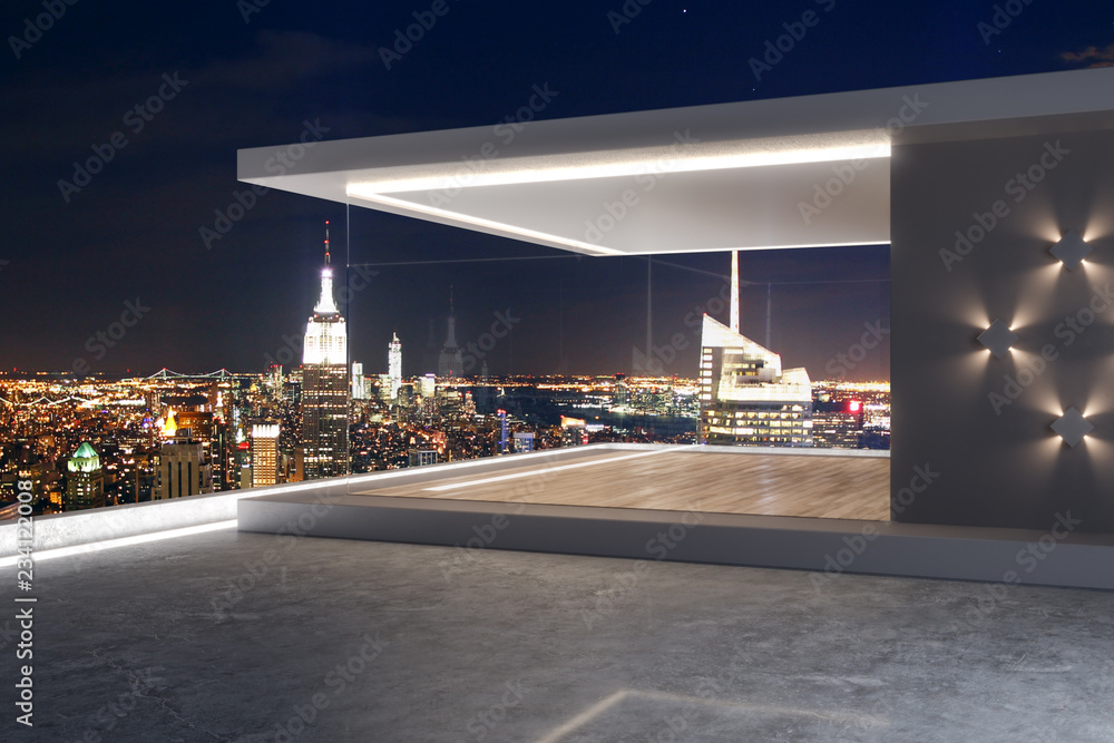 Fototapety, obrazy: Creative rooftop with NY view