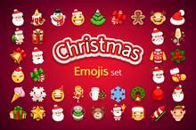 Christmas Emojis Set. Santa Cl...