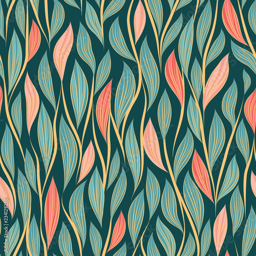 mata magnetyczna Seamless vector floral pattern with abstract leaves and branches in pink and blue colors on dark background