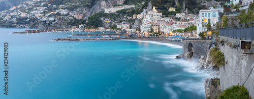 Fotografie, Obraz  panorama of amalfi coast in morning twilight in Italy
