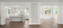 Panorama Of Kitchen And Dining Room In New Luxury Home