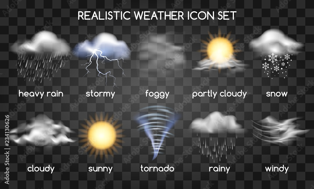 Fototapety, obrazy: Realistic weather icons set isolated on transparent background. Vector set with type of weather