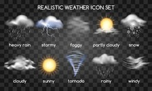 Realistic Weather Icons Set Is...