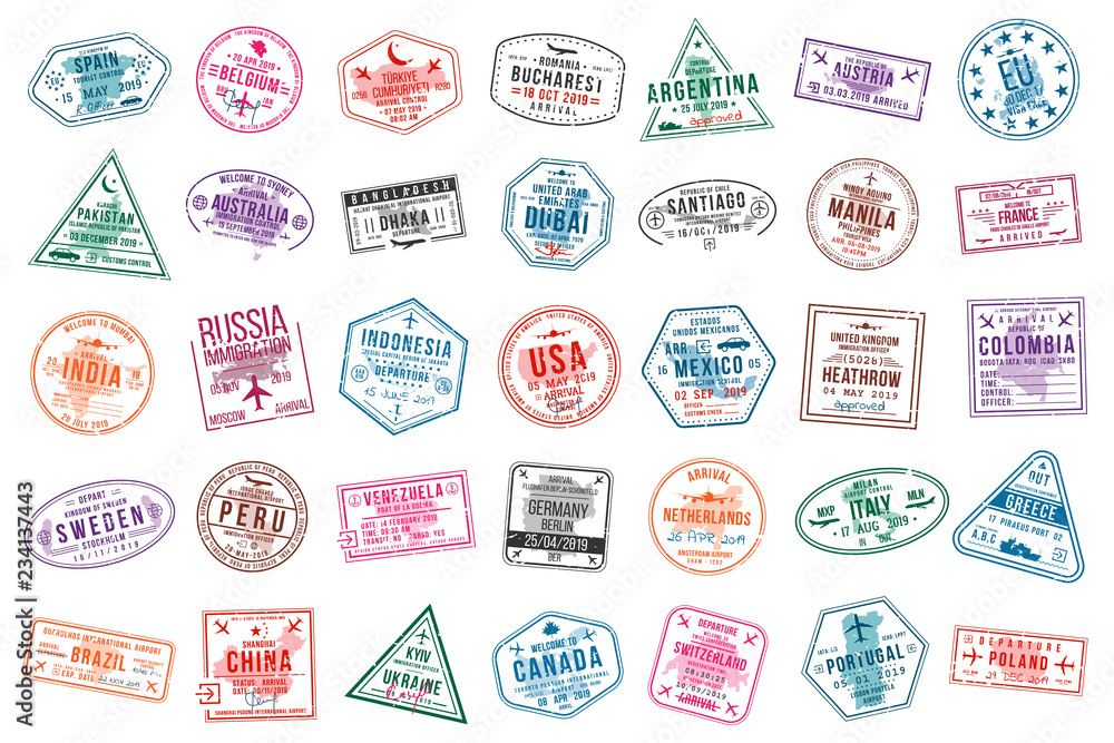 Fototapety, obrazy: Set of travel visa stamps for passports. International and immigration office stamps. Arrival and departure visa stamps