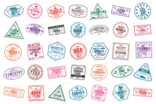 Set Of Travel Visa Stamps For ...