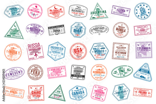 Obraz Set of travel visa stamps for passports. International and immigration office stamps. Arrival and departure visa stamps - fototapety do salonu