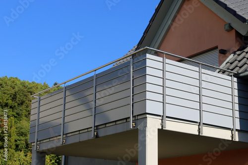 Canvastavla Balcony railing with glass and stainless steel