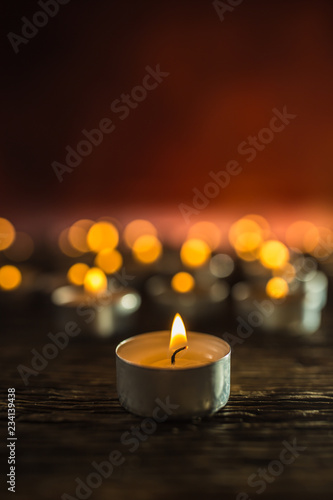 Many candles symolizing funeral religios christmas spa