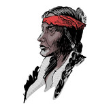 Vector portrait of an american indian.  - 234150691