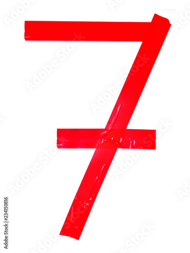 Fotografía  Numeral 7 symbol made of red tape pieces, isolated on the white background