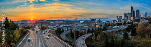 Fototapeta Seattle downtown skyline sunset from Dr. Jose Rizal or 12th Avenue South Bridge obraz