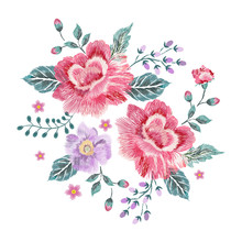 Embroidery Floral Native Pattern With Roses. Vector Embroidered Patch With Flowers For Wearing Design.