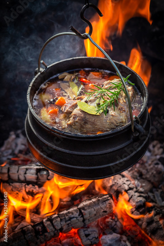 Delicious and fresh hunter's stew with vegetables and herbs