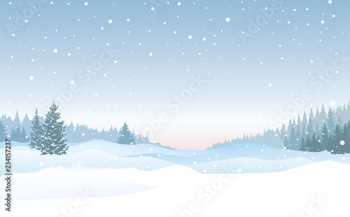 Christmas snowfall background. Snow winter landscape. Merry Christmas skyline.
