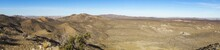 Wide Panoramic Landscape Scenic View Of Mojave Desert Near Lost Horse Mine In Joshua Tree National Park California USA