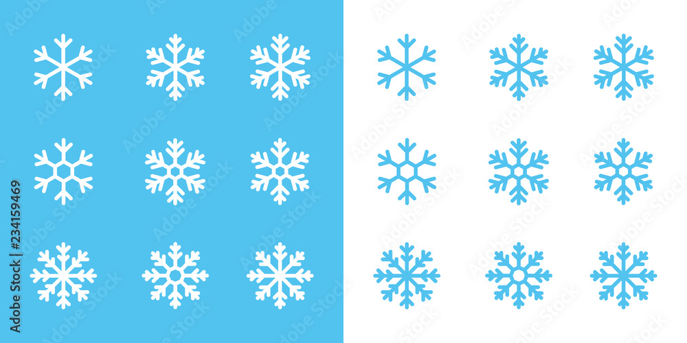 Fototapeta snowflake line icons on blue and white background