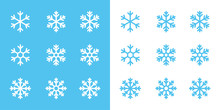Snowflake Line Icons On Blue A...