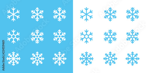 Obraz snowflake line icons on blue and white background - fototapety do salonu